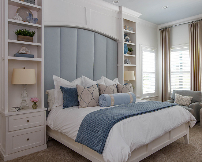 Custom Bedroom Headboard Bookcases Flanking headboard #CustomHeadboard #BookcasesFlankingheadboard