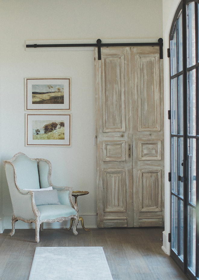 Antique French Door hung with barn door hardware Whitewashed Antique French Door hung with barn door hardware Antique French Door hung with barn door hardware Antique French Door hung with barn door hardware Antique French Door hung with barn door hardware #AntiqueFrenchDoor #antiquedoorhungwithbarndoorhardware