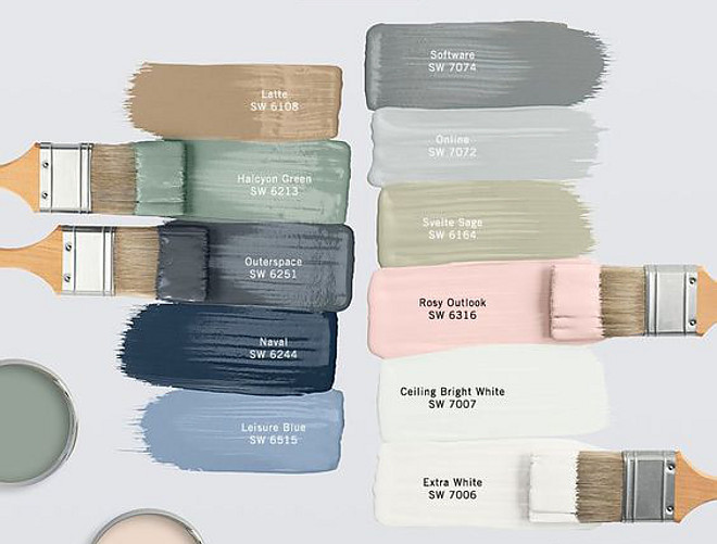 Sherwin Williams Paint Colors Sherwin Williams Paint Color Latte SW 6108 by Sherwin Williams, Halcyon Green SW 5213 by Sherwin Williams, Outerspace SW 6251 by Sherwin Williams, Naval SW 6244 by Sherwin Williams, Leisure Blue SW 6515 by Sherwin Williams, Software SW 7074 by Sherwin Williams, Online SW 7072 by Sherwin Williams, Svelte Sage SW 6164 by Sherwin Williams, Rosy Outdlook SW 6316 by Sherwin Williams, Ceiling Bright White SW 7007 by Sherwin Williams, Extra White SW 7006 by Sherwin Williams #Sherwinwilliams #paintcolors #paintcolor