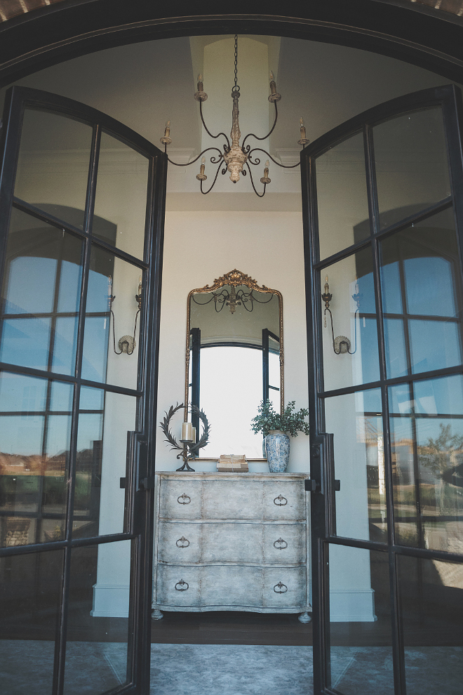 French foyer with double black steel and glass doors French foyer with double black steel and glass door ideas #Frenchfoyer #doubledoors #blacksteelandglassdoors