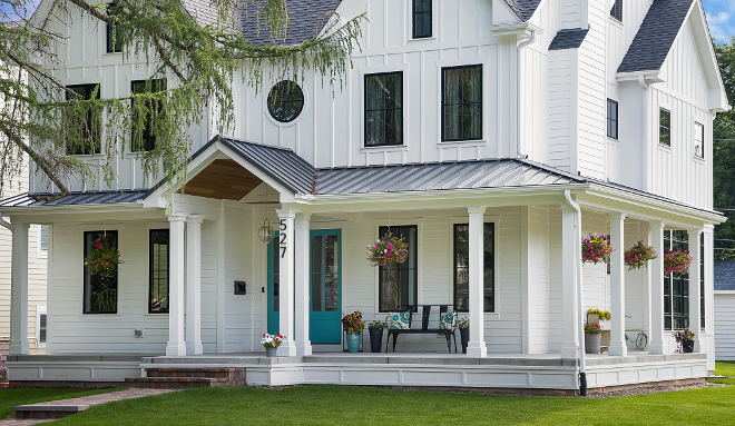 White farmhouse with wrap around porch home bunch for Modern homes with wrap around porches