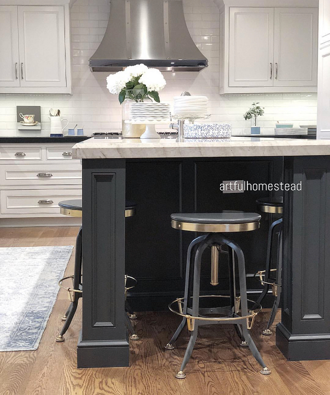 Charcoal Gray Kitchen Island paint color Benjamin Moore 1602 Gunmetal