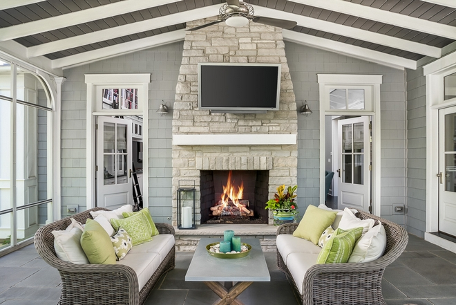 Screened-in Back Porch Fireplace Screened-in Back Porch Screened-in Back Porch #ScreenedinBackPorch