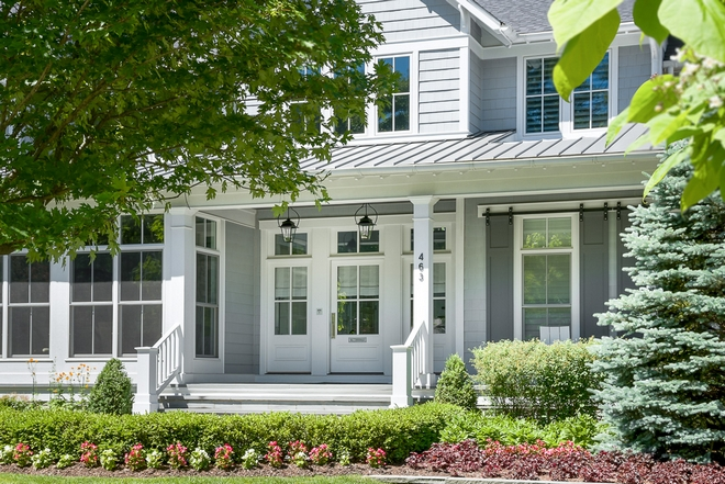 Grey Front Porch Grey Front Porch with white trim Grey Front Porch #GreyFrontPorch