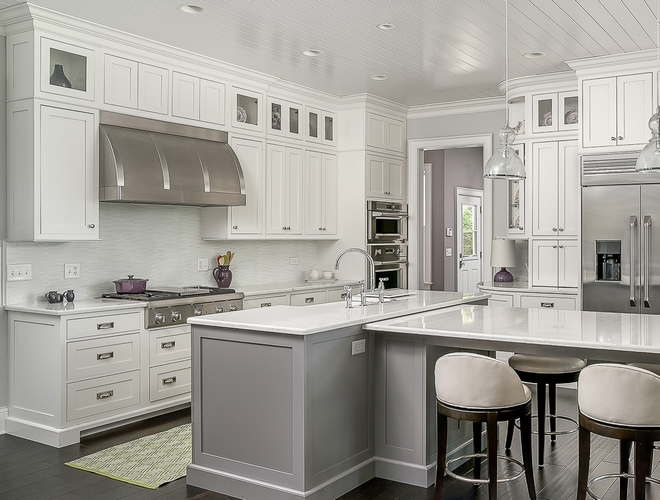 White kitchen with grey island White kitchen with grey island #Whitekitchen #greyisland