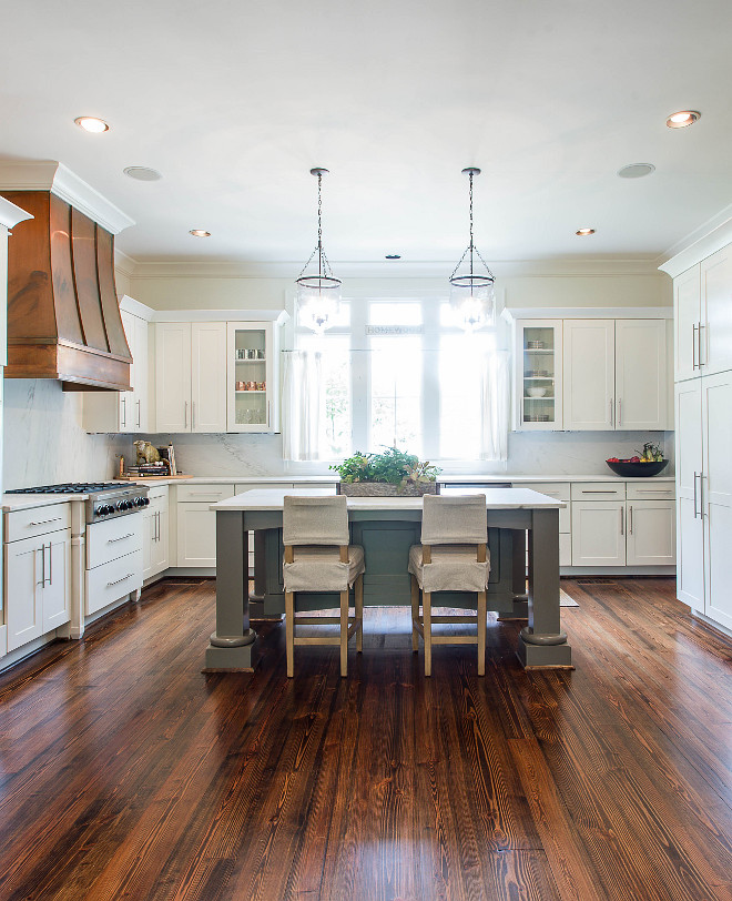 Grey Kitchen Island with Pine Hardwood floor White kitchen painted in Benjamin Moore White Dove with grey island and pine hardwood floor #kitchen #BenjaminMooreWhiteDove #Pine #Hardwoodfloor
