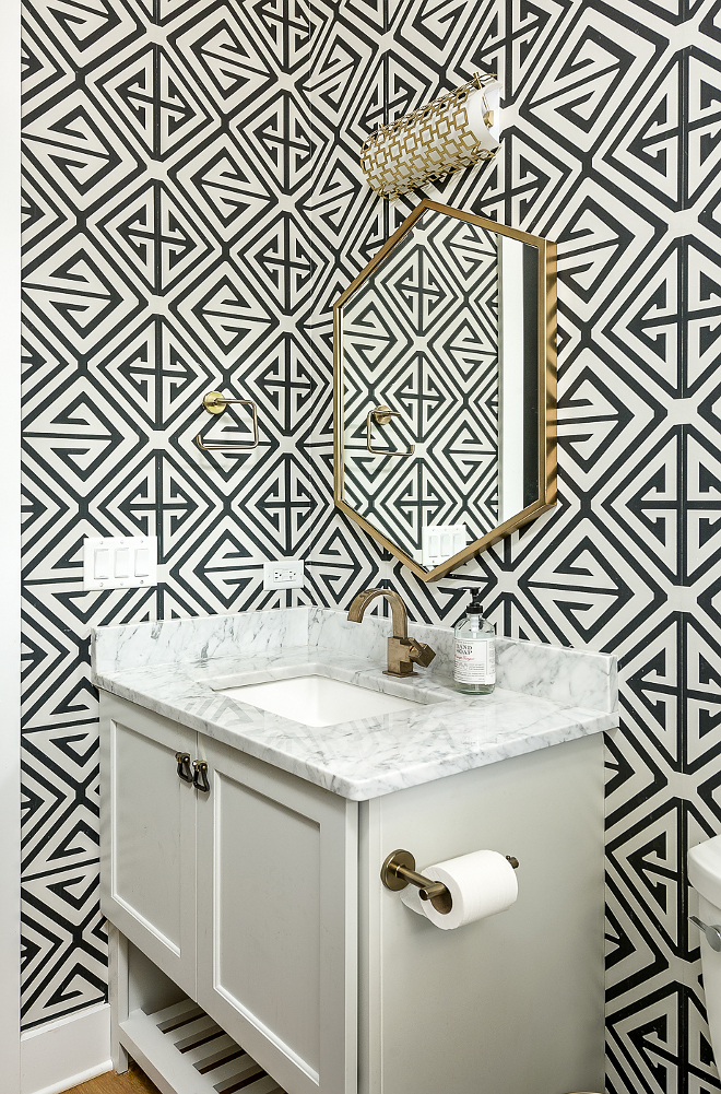 Geometric wallpaper is Demetrius by Thibaut