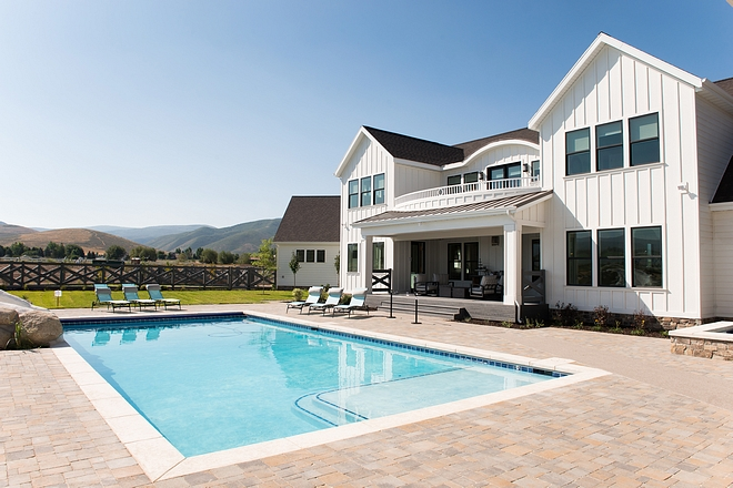 Modern farmhouse home pool backyard