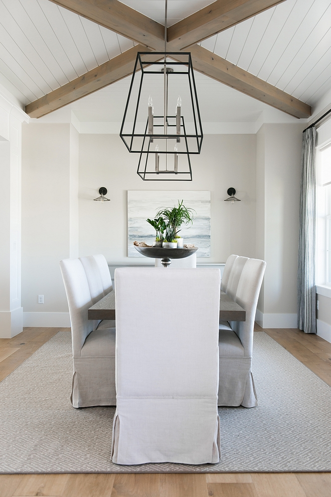 Modern Farmhouse Dining Room Ceiling tongue and groove and beams