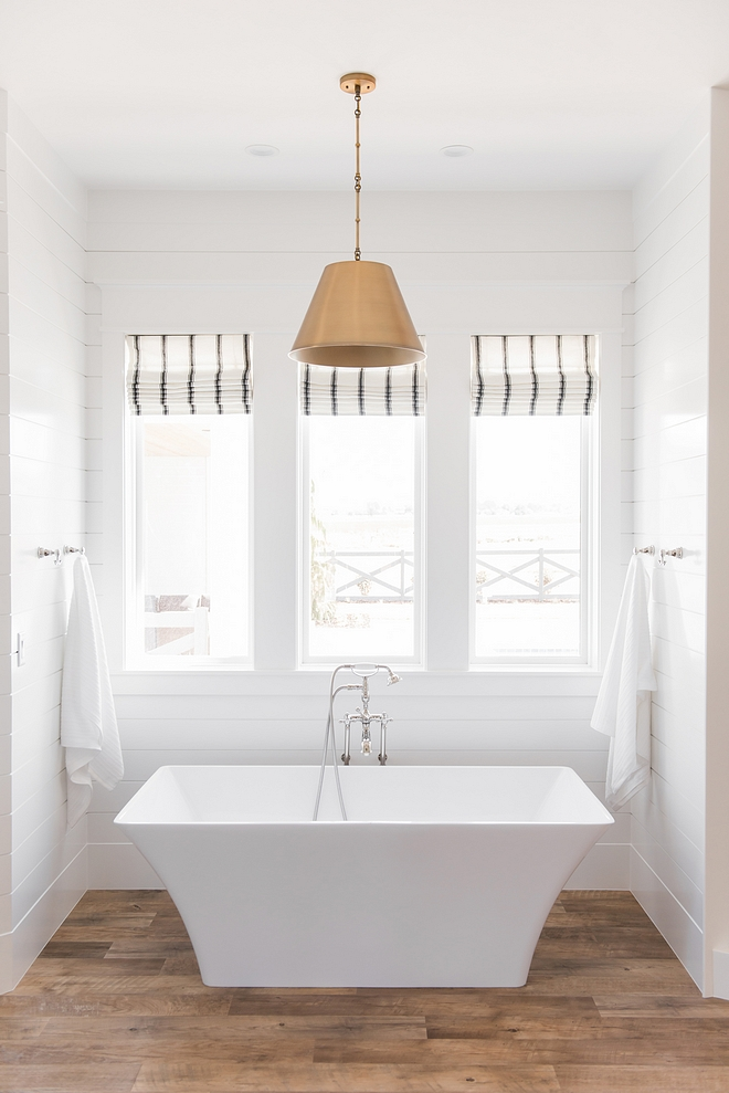 Modern farmhouse bathroom white bathroom shiplap