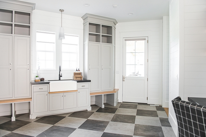 Modern farmhouse grey laundry room mudroom