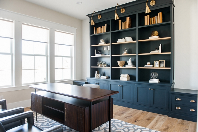 Navy Home Office Bookshelves with brass