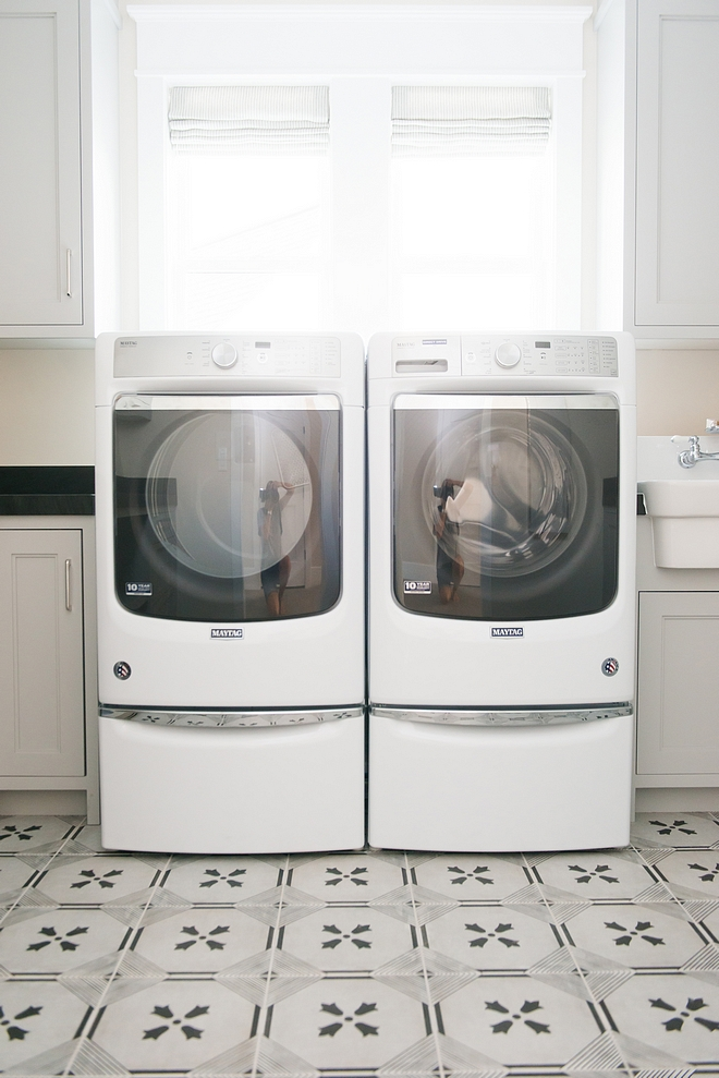 Grey Laundry Room with cement tile Grey Laundry Room Grey Laundry Room