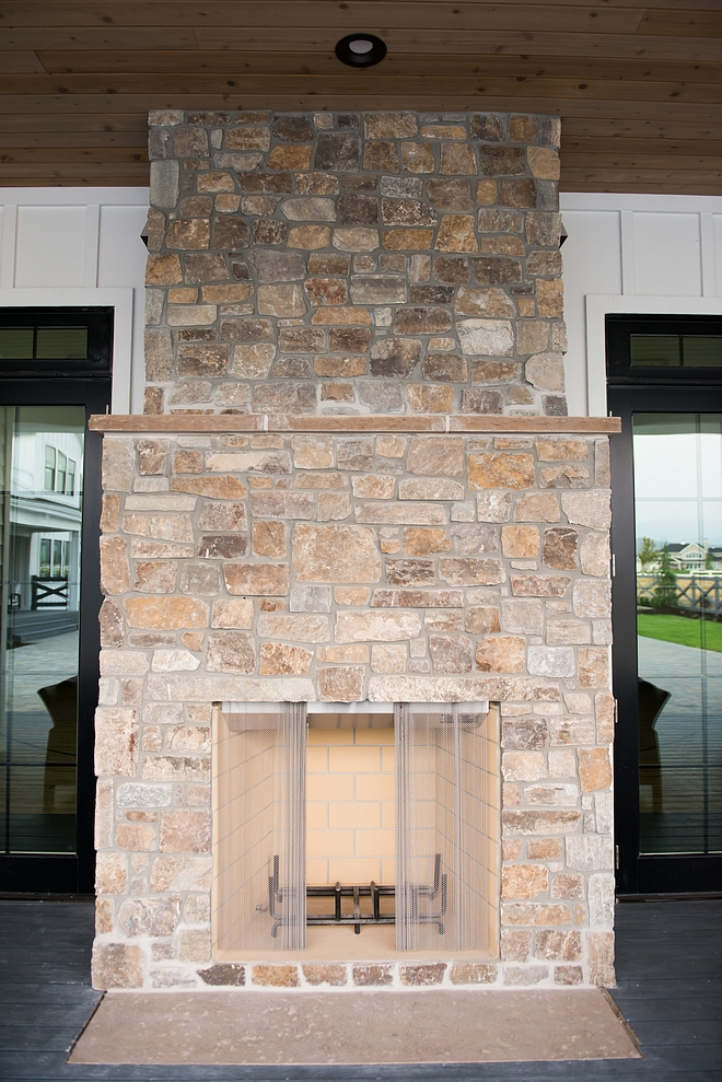Back porch Stone Fireplace