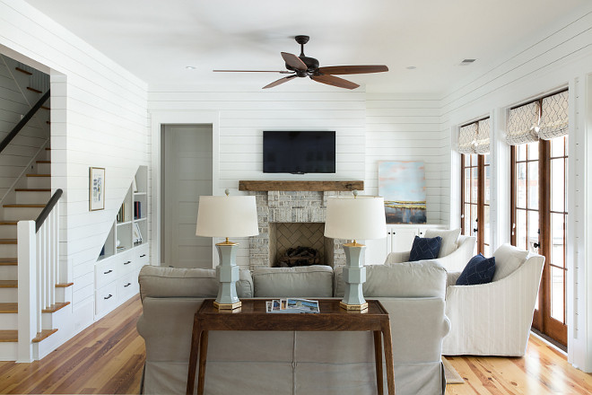 Shiplap Living Room Painted in Sherwin Williams Pure White