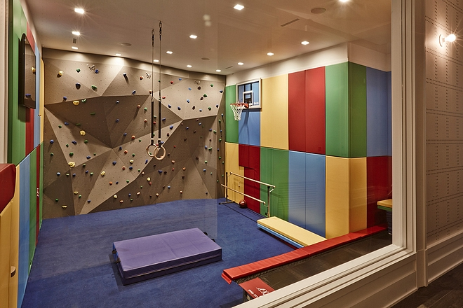 Playroom Exercise Room Basement with Indoor rock climbing Ideas