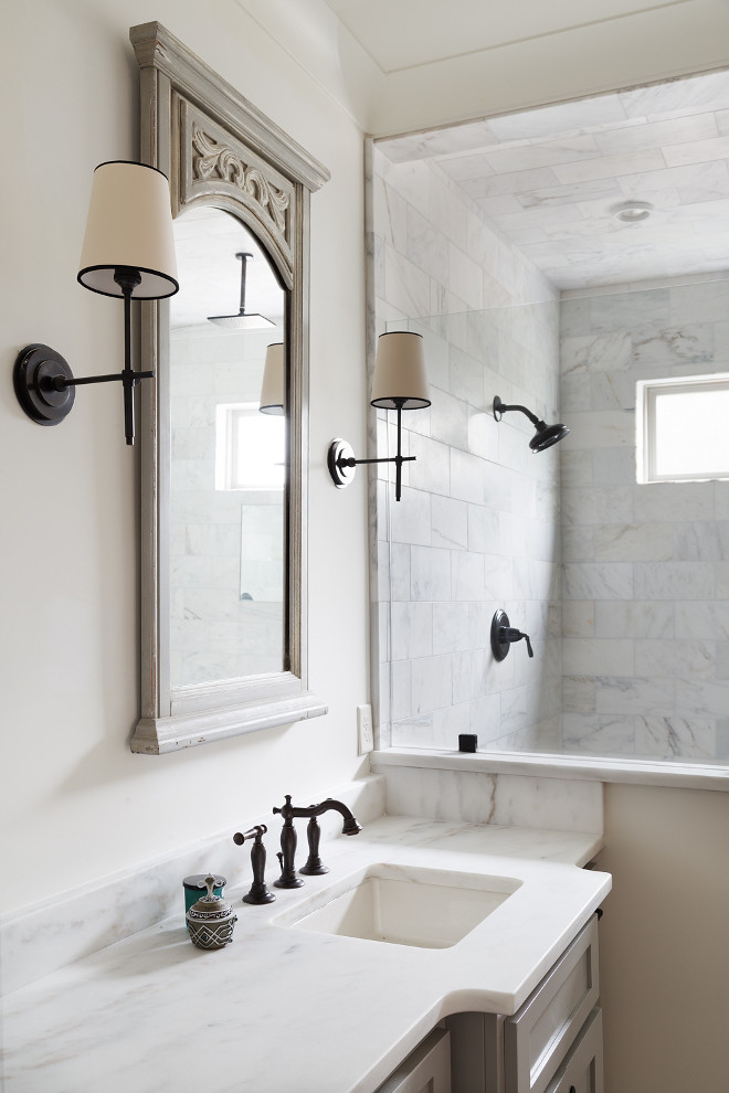 Bathroom with neutral paint color sources on Home Bunch