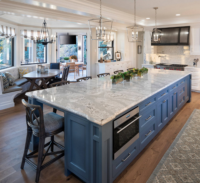 Kitchen Island Blue Kitchen Island with Cambria quartz countertop #KitchenIsland #blueKitchenIsland #cambria #quartz #countertop