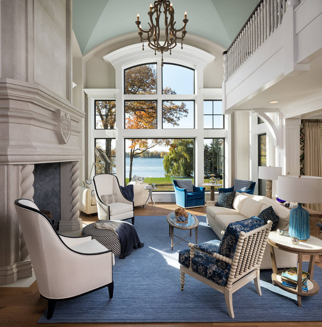 Blue White Lakehouse Living Room Blue White Lakehouse Living Room Windows Blue White Lakehouse Living Room Windows are by Marvin Windows #BlueWhite #Lakehouse #LivingRoom #windows