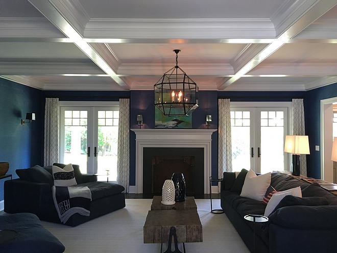 Family Room Lighting coffered ceiling lighting sources on Home Bunch #FamilyRoom #Lighting