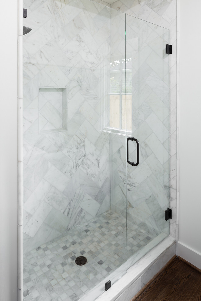 Marble Herringbone Shower Tile sources on Home Bunch
