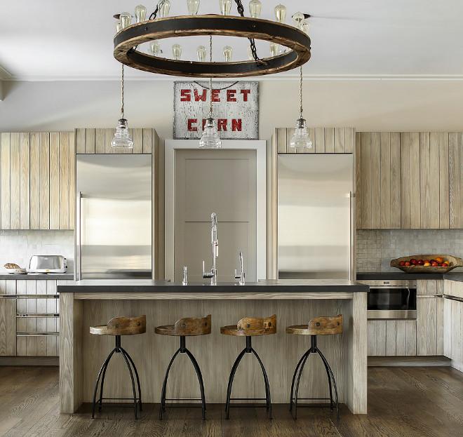 Farmhouse Kitchen with Glazed Shiplap Cabinets