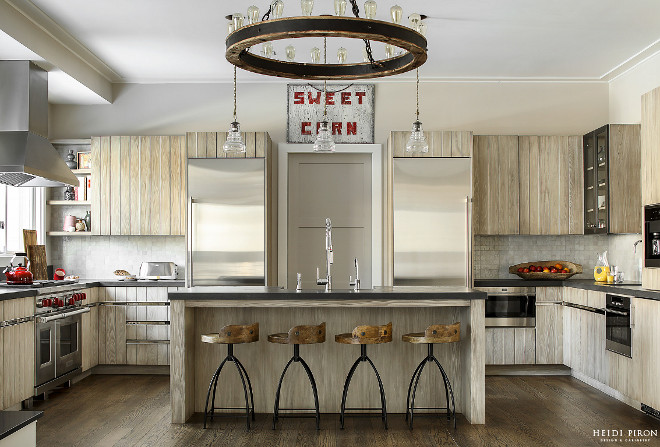 Farmhouse Kitchen with Glazed Shiplap Cabinets