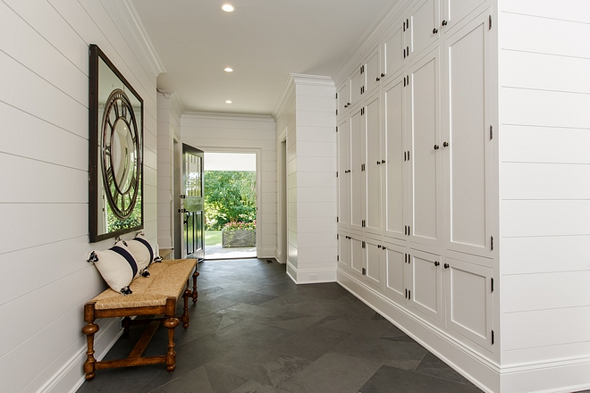White Mudroom #mudroom with shiplap