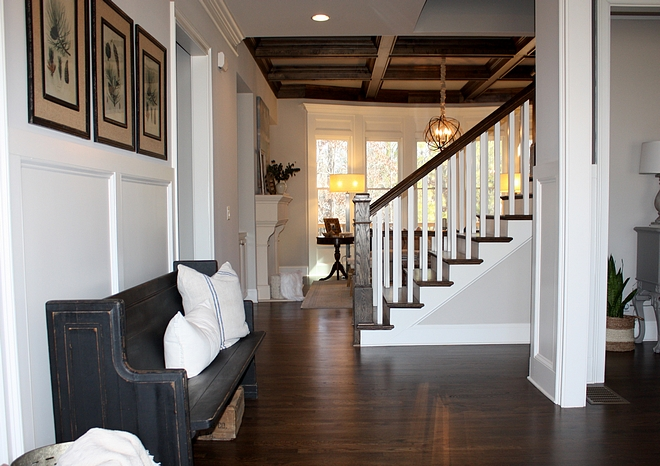 Grey foyer farmhouse foyer