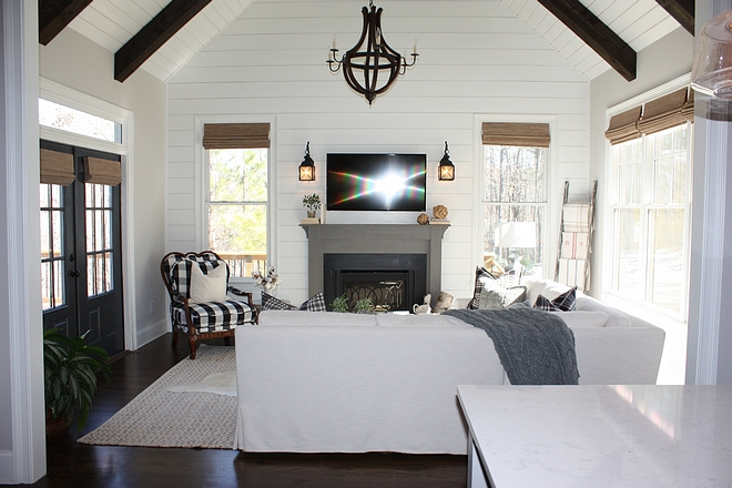 Family Room floor to ceiling shiplap vaulted ceiling and dark stained beams #FamilyRoom #shiplap #beams