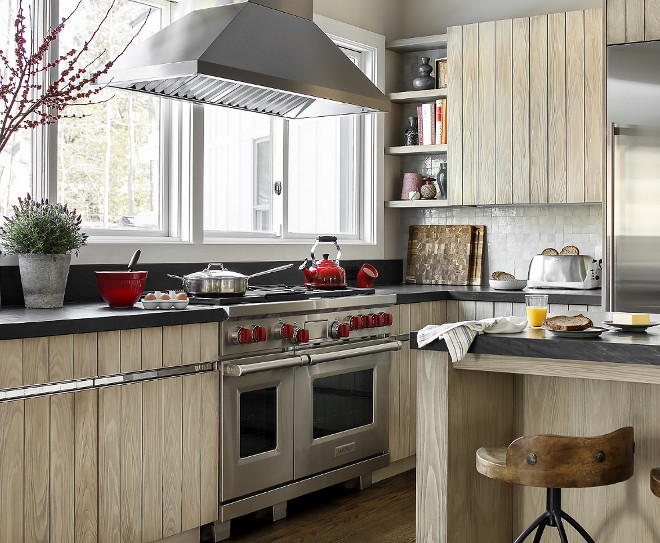 Farmhouse Kitchen With Glazed Shiplap Cabinets Home