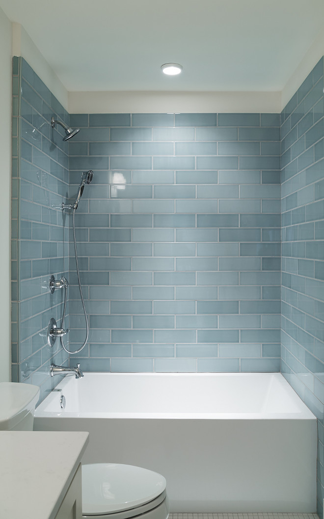 Blue shower tile source on Home Bunch