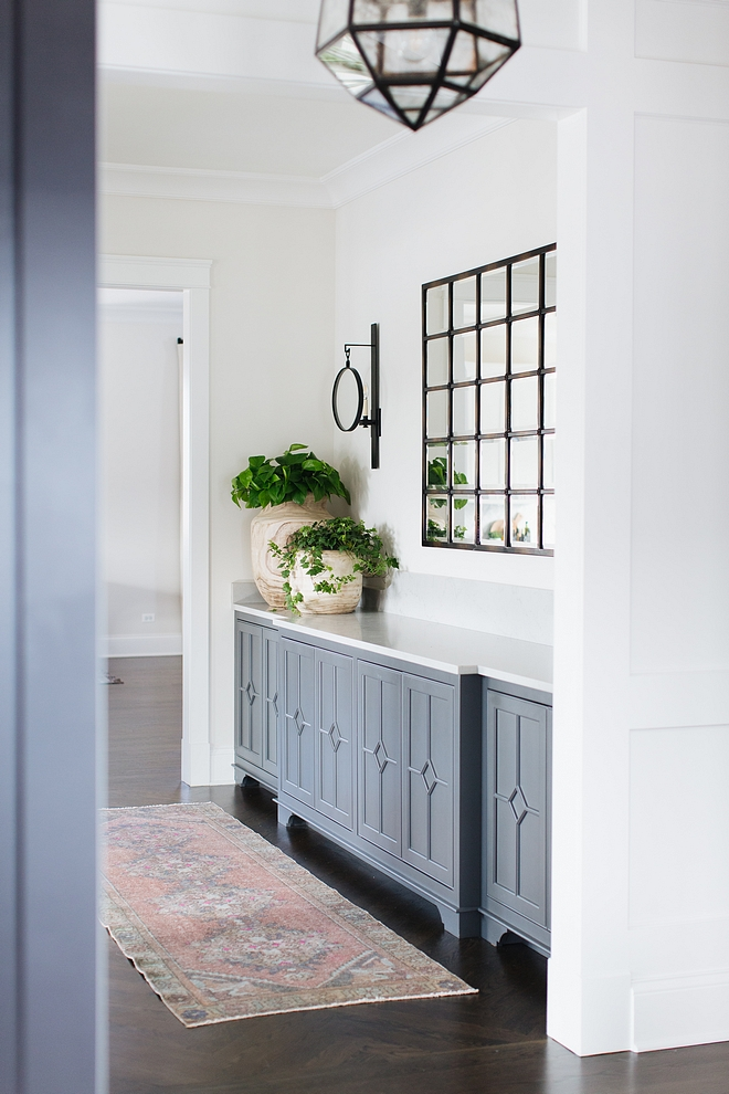 Grey butlers pantry buffet Grey butlers pantry buffet with quartz countertop and vintage runner Grey butlers pantry buffet #Greybutlerspantry #buffet