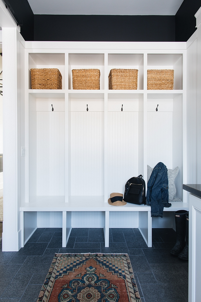 Mudroom Cubbies Mudroom Cubbies White Mudroom Cubbies with black walls great farmhouse look #Mudroom #Cubbies #farmhouse