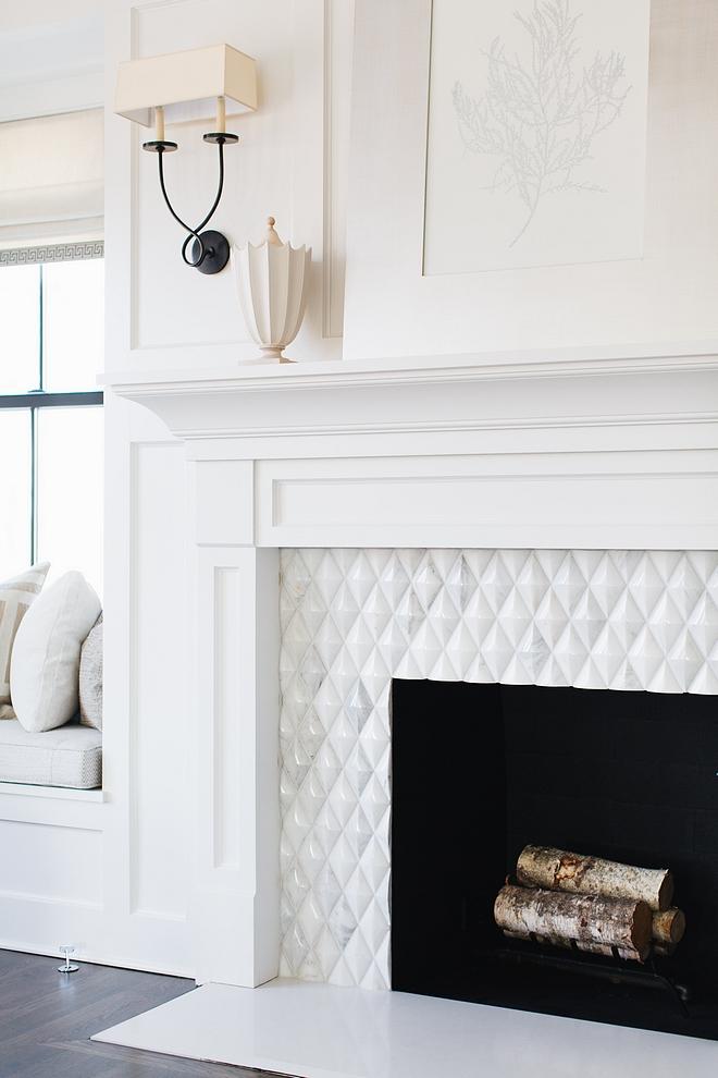 Fireplace Tile Beveled Diamond Fireplace Tile source on Home Bunch Fireplace Tile Fireplace Tile #FireplaceTile #Tile #BeveledDiamondTile