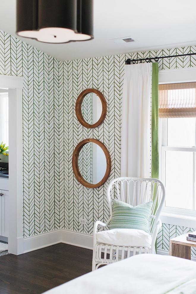 Green Herringbone Wallpaper Serena and Lily Courtyard Green Wallpaper