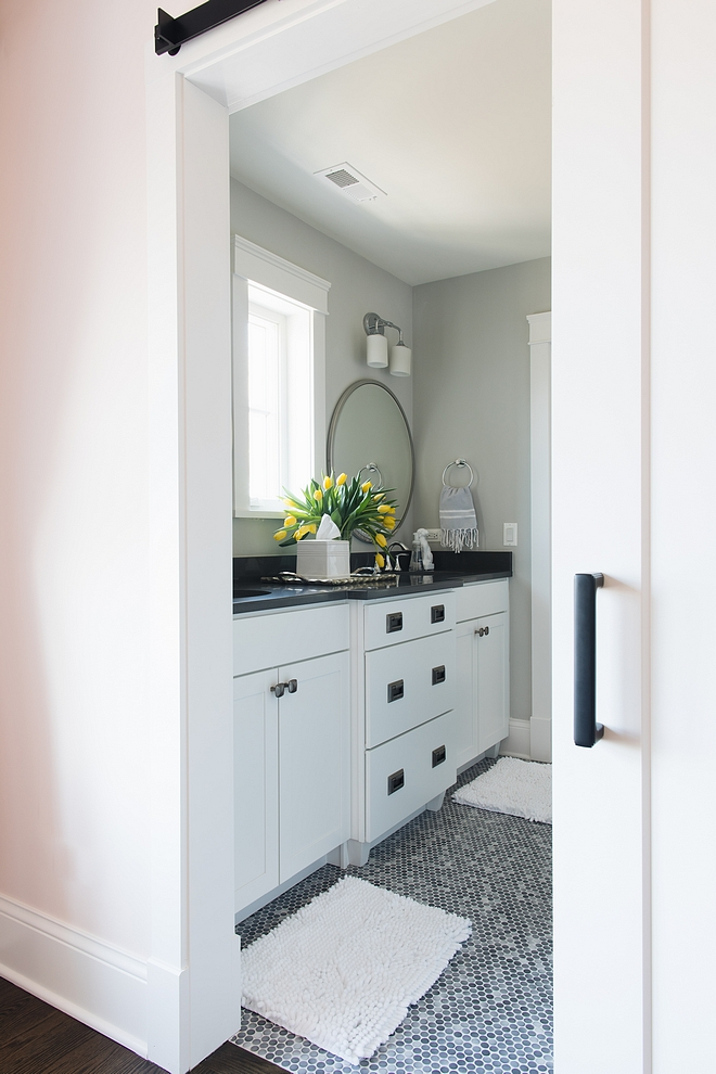 Jack and Jill Bathroom painted in BM Gray Owl