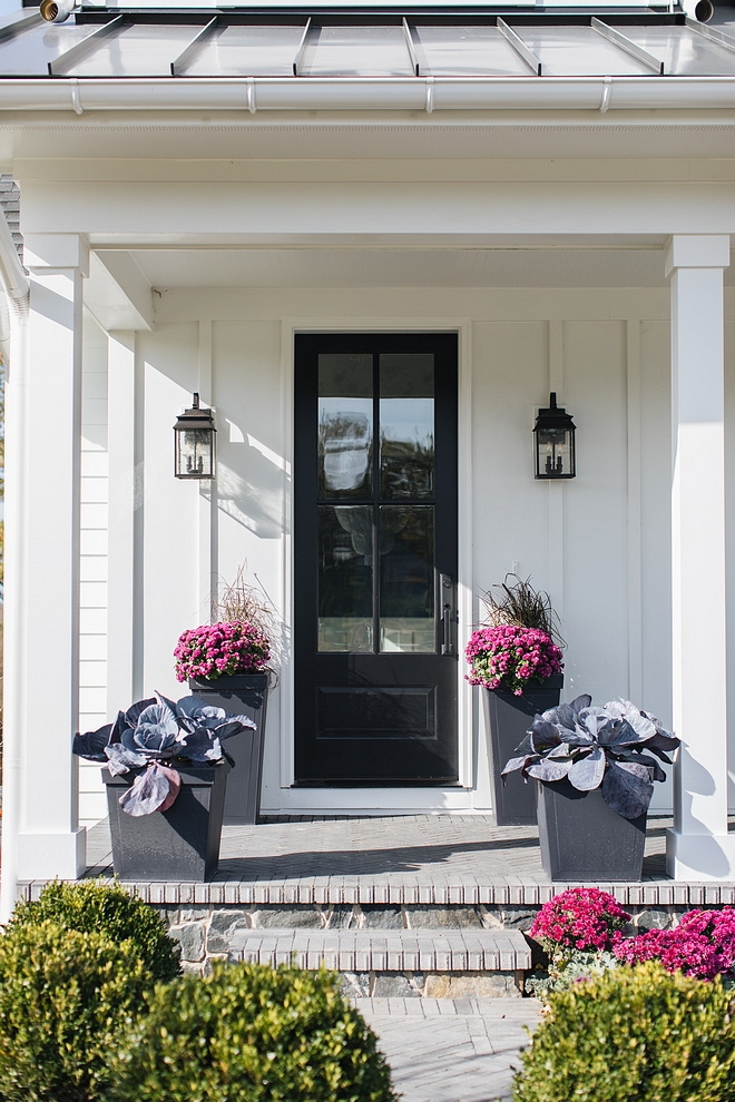 Black Front Door Farmhouse with Black Front Door Black Front Door Black Front Door #BlackFrontDoor