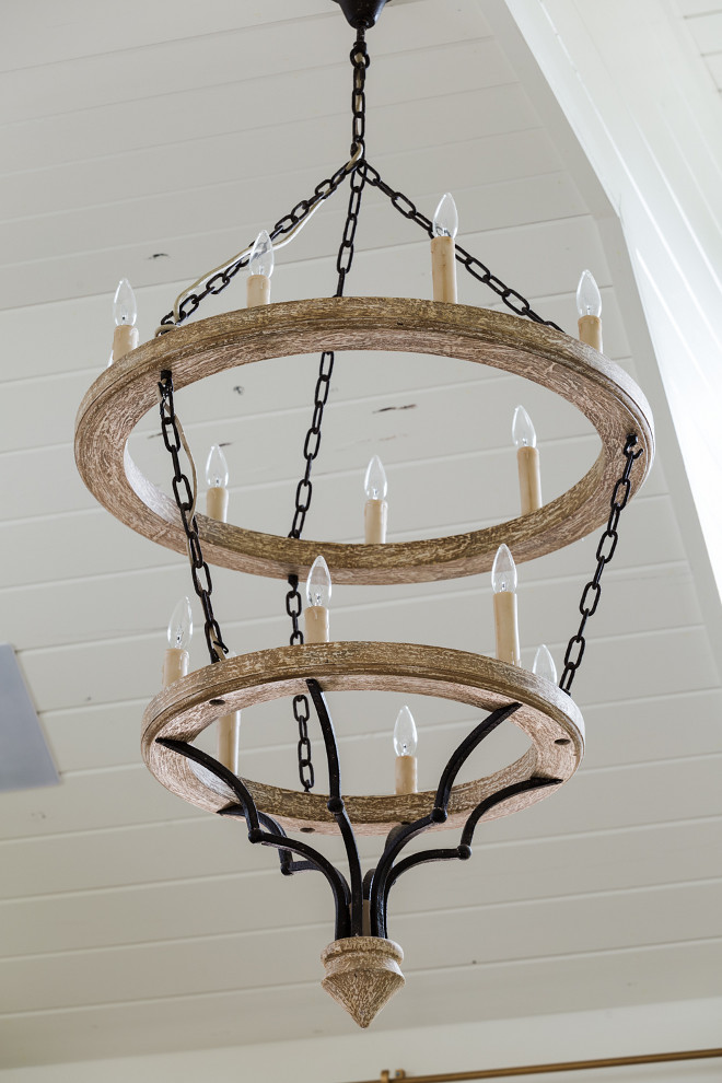 Wood chandelier source on Home Bunch