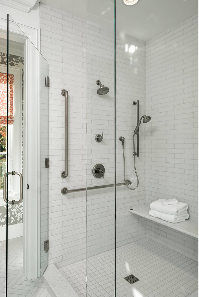 White shower tile source on Home Bunch White shower tile #Whiteshowertile #showertile