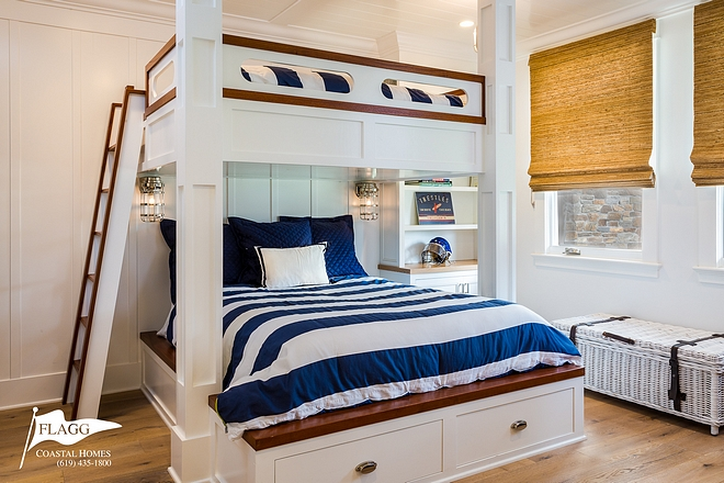 Coastal Bunk Room Coastal Bunk Room with queen bunk beds, white oak hardwood flooring and board and batten paneling Coastal Bunk Room #CoastalBunkRoom #BunkRoom #boardandbatten #queenbunkbed #bunkbed