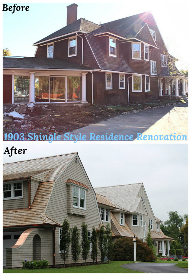 Before and After Gambrel Shingle-style Home renovation #BeforeandAfter