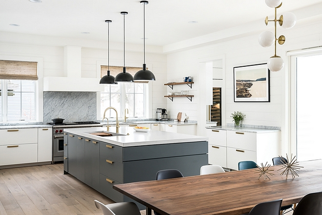 White kitchen with grey island Modern farmhouse kitchen with white and grey cabinets