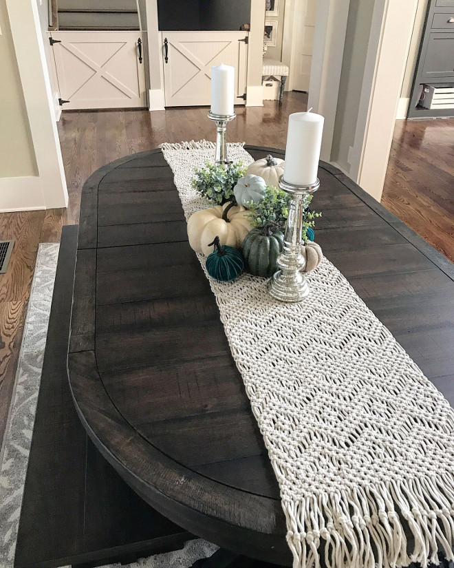 Dining room fall center piece. Dining room fall center piece and natural macrame table runner. Dining room fall center piece. Dining room fall center piece. Dining room fall center piece #Diningroom #fallcenterpiece Home Bunch Beautiful Homes of Instagram @mygeorgiahouse
