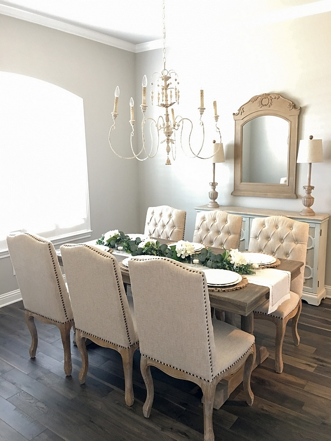 Sherwin Williams Repose Gray French Country Dining Room paint color Best Neutral Paint colors Sherwin Williams Repose Gray #SherwinWilliams #ReposeGray