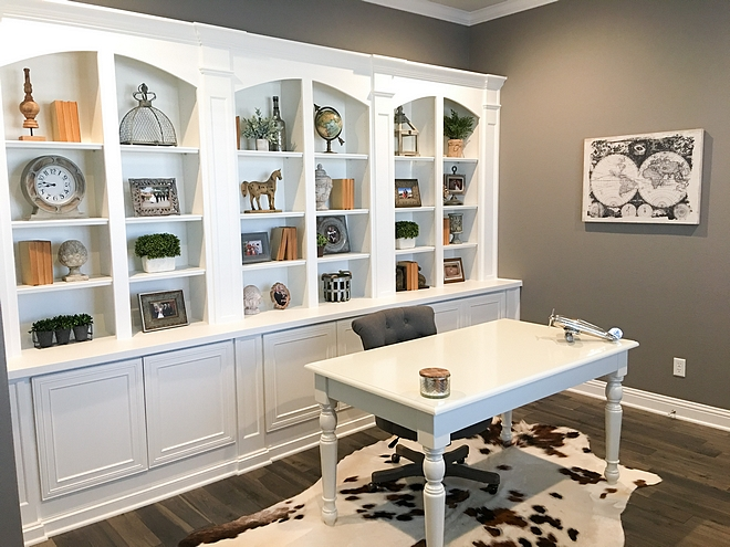 Home Office Painted in Sherwin Williams Dovetail Gray Bookshelves with Sherwin Williams Pure White Home Office Bookshelves Home Office Bookshelves