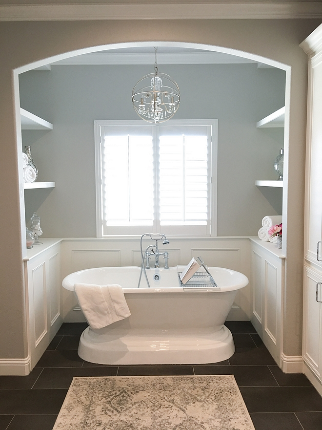 Repose Gray by Sherwin Williams Bath nook with wainscoting and grey walls painted in Repose Gray by Sherwin Williams Repose Gray by Sherwin Williams #ReposeGraybySherwinWilliams
