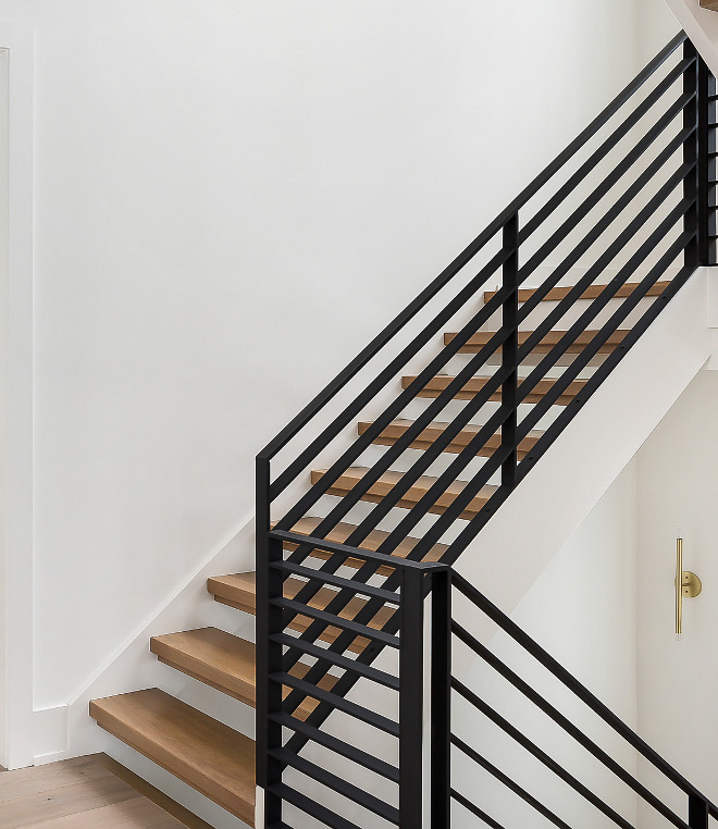 Modern Farmhouse Stairway Black Railing Black Steel Railing Modern Farmhouse Stairway