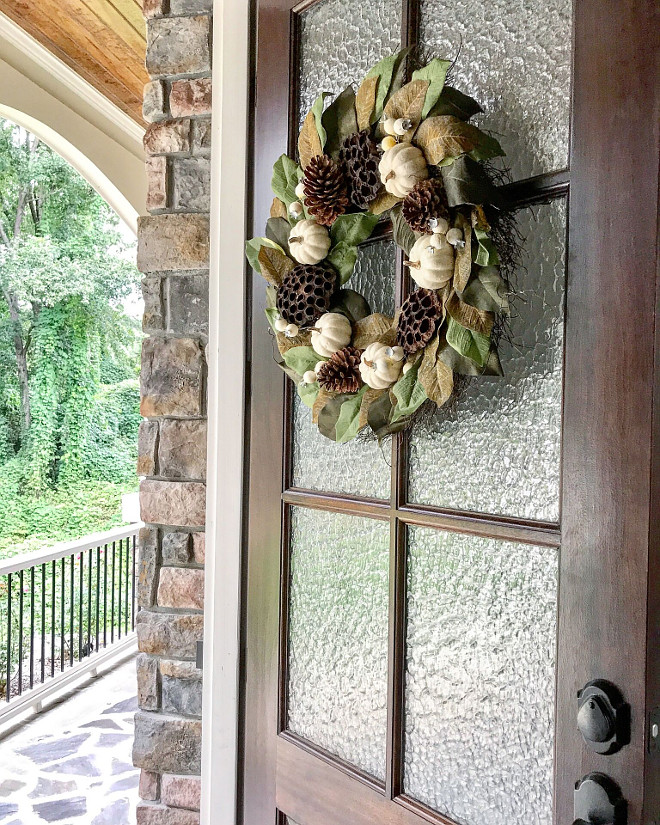 Miniwax Dark Walnut Glass and wood front door source on Home Bunch