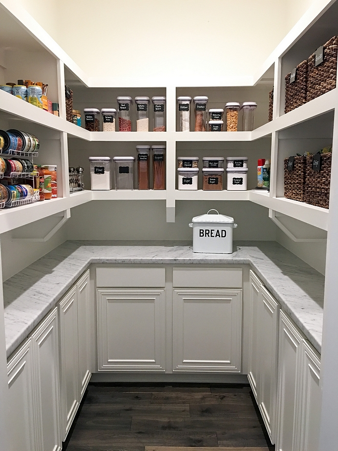 Kitchen Pantry Shelves Kitchen Pantry with open shelves, carrara marble countertop and closed lower cabinets #pantry #kitchenpantry
